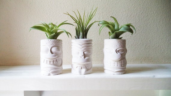 Tiki totem mini air plant holders, Island style, Tahitian, Hawaiian decor, Polynesian