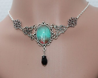 Gothic necklace - vintage cabochon