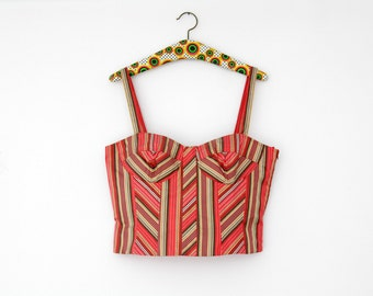 Vintage Bustier Top // Betty Barclay Silk Striped Crop Top