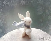 Felt bunny with scarf and snow ball, unique hand made pose-able artist mini plushie