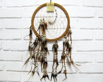 Free Fast Shipping/Native American Legend Dream Catcher/One Oversize Light Brown Sued Indian Symbols