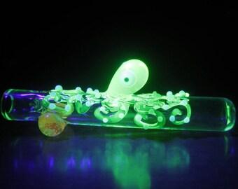 UV Reactive Octopus Chillum - Illuminati Glass - Glow in the Dark Deatails - Heady Chillum