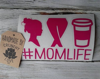 Mom Life Vinyl decal -Messy hair Yoga Pants Coffee Mom Life Car decal, mom bun, Messy hair decal, Crunchy Decals Momlife, basic mom #momlife