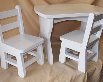 Toddler Table and chair, table and chairs, wood, wooden, hand crafted, 2 chairs