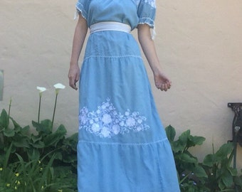 Vintage Filipiana Blue Gauzey Dress