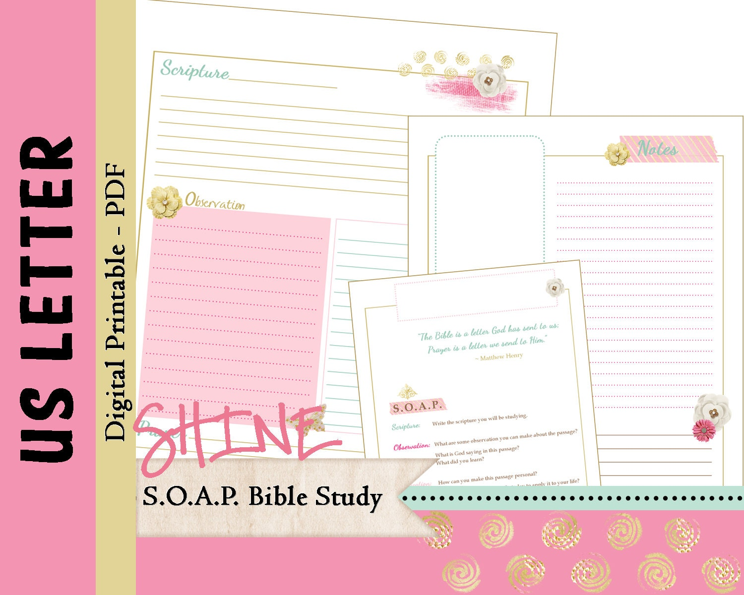 photograph regarding Soap Bible Study Printable referred to as 50 % Letter S O A P Bible Analyze Printable Planner Magazine