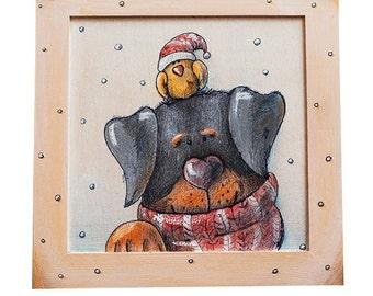 ROTTWEILER AND BIRDIE illustration, Acrylic, Kids room art, Painting on Wood, Illustration on Wood, Wall Art, Winter, Valentine's gift