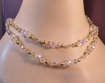 Rich Matte Gold & Multi Faceted Crystal Double Strand Statement Necklace Set