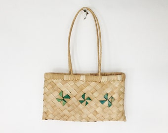 The Barefoot @ The Beach Boho Vintage Straw Tote Bag, Handbags, Purse