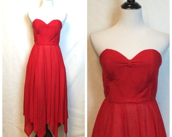 Vintage Strapless red dress/ 80's does 50's New Look