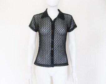 90s Sheer Black Textured Knit button down Short Sleeve shirt