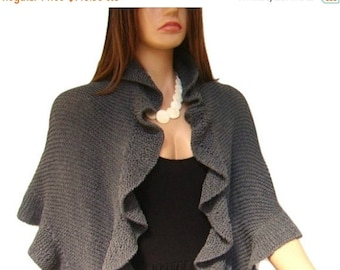 ON SALE Dark Gray Cotton Three Sides Ruffle Shawl, Grey Hand knit Cotton Viscose, Bridesmaid Gift, Bridal Wrap, Express Delivery