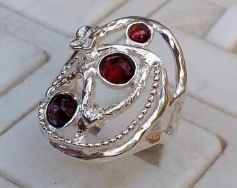 Garnet Silver Ring ,sterling silver 925 Ring ,Handmade Garnet Ring ,Multistone Ring ,Statement Garnet Ring ,Birthstone Ring ,Designer Ring