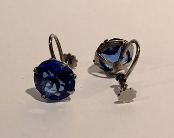 Antique Royal Blue Glass Screw Back Earrings Regency Style Vintage Jewelry Gift for Her
