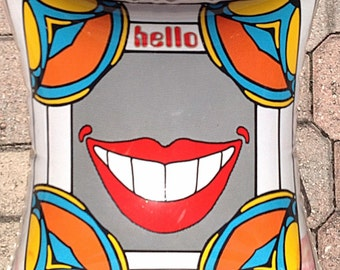 Peter Max Rare vinyl pillow hello Smile  Exhibition VINTAGE 70S reduced 50 percent pay dr copay