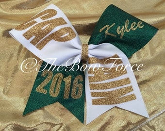 Captain Cheer Bow with your name  Full Fabric Bow
