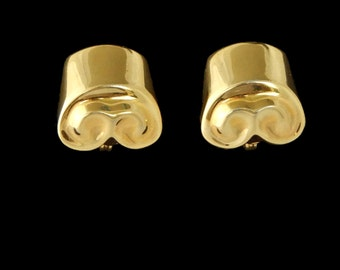 Gold Tone Earrings Doric Design Signed Monet  Clip Ons