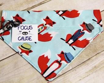 Red Fox w/Fedora Dog Bandana, Over the Collar Dog Bandana, Slip Over Collar, Comes with Tag, Great Gift, Mailed w/Tracking