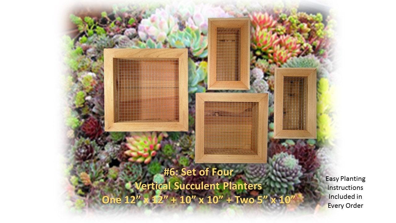 Reclaimed wood vertical succulent cedar planter 4 box set wire for Vertical planter boxes