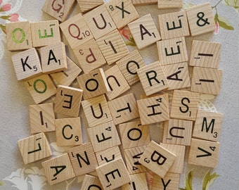 Wooden scrabble tiles x 50 pick and mix, choose your own letters