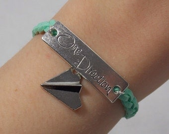 One Direction 1D Paper Airplane: Mint -- Adjustable Braided Suede Bracelet