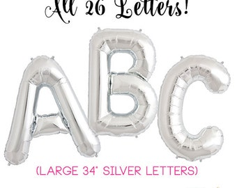 "34"" Silver Foil Letter Balloons (Letters A to Z + Ampersand + Numbers 0-9)"