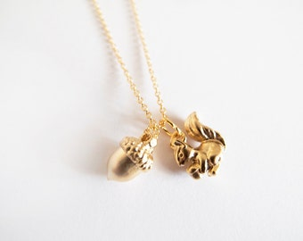 Squirrel and Acorn Necklace
