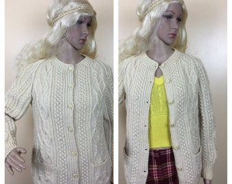 Vintage Irish Fishermans Cardigan cableknit Sweater Chunky Creamy 60s 70s sweater hipster sweater