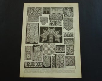 Antique French print about lacework - 1902 old pictures of dentelle lace point - vintage small poster - kant kanten - 24x31cm/9x12''