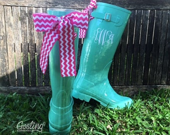 Ladies Monogram Rubber Boots, rain boots with bow, Mint Rain Boots, Chevron Bows, Wedding Wellies
