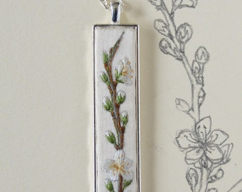 Hand Embroidered Blackthorn Blossom Pendant