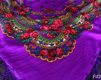 Purple BIG shawl scarf with flower patterns and fringes POLISH folk fashion SLAVIC colors