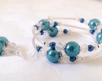 Teal Bracelet Teal Pearl Bracelet Teal Jewelry Teal Pearl Jewelry Bridesmaid Gift
