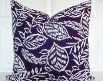 Purple Pillow Cover   Decorative Pillow 18x18, 20x20, Lumbar Pillow   Deep  Purple And