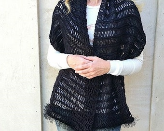 Knit Shawl.Scarf.Hand Knit Scarf. Black womens scarf.Hand knit shawl. MADE TO ORDER
