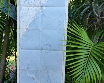 Large Vintage Nautical Map (Florida and Bahamas)