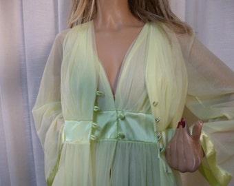 Lime GREEN Sherbet Peignoir Robe and Nightgown, Gossard Artemis, Double Nylon, PRISTINE, Vintage 60s