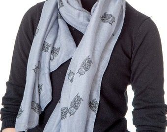 Grey Owl design scarf