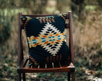 2 Tribal Pillow Covers, Geometric Pillow covers, Boho Pillow Covers in Pendleton Wool, Southwestern Pillow, Western Pillow, Black, Native