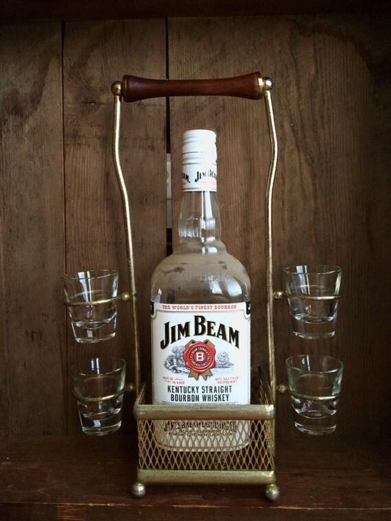 Vintage Shot Glass And Bottle Carrier Metal Wire Carrier Rack