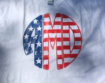 USA flag monogram or 'USA' top-Patriotic, July 4th, Memorial Day