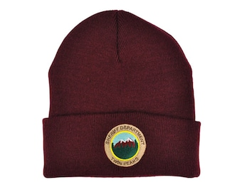 Twin Peaks Sheriff Department Knitted Beanie! tv prop, david lynch, damn fine coffee, agent dale cooper, laura palmer