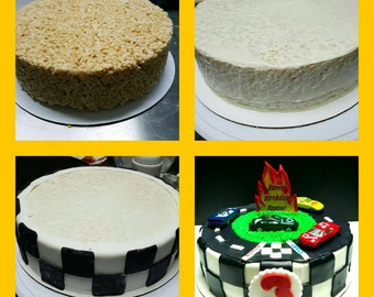 Cakeless Birthday Cakes! Rice Cereal Treat Birthday Cakes! For any occasion and most any theme.