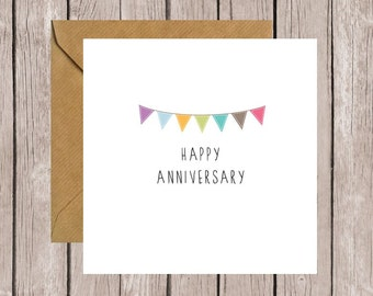 Bunting Happy Anniversary Card