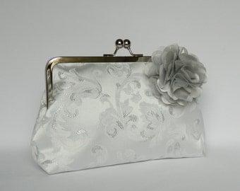 Bridal clutch purse, Silver Floral Clutch, Wedding Clutch Purse, Brides Clutch Purse, Silver Brocade Bridal Clutch