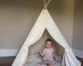 SALE Poles Included Lace Front Teepee Play Tent Natural Canvas Four Panel