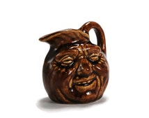 Vintage Man in the Moon Face Jug, Folk Art Pitcher, McMaster Pottery, 1930-40's