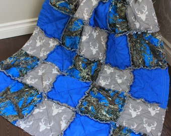 Baby Rag Quilt, Baby Boy Quilt, Baby Camo Quilt, Blue Camo,Deer, Real Tree Camo , Ready To Ship