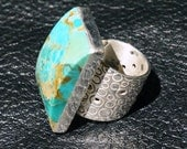 Kingman Turquoise Ring, Sterling Silver, Modernist