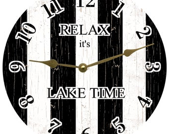 Personalized Black and White Striped Clock